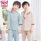 男童睡衣套裝純棉男孩100%中大童全棉短袖兒童家居服夏季薄款 童趣屋 免運