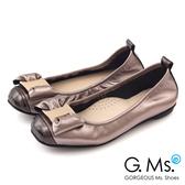 G.Ms.*  MIT系列-牛皮金飾穿釦蝴蝶結芭蕾舞娃娃鞋*閃亮銀