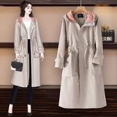 長款大衣 防風保暖外套秋季韓版版大碼女裝bf寬松減齡時尚中長款風衣外套F1164依佳衣