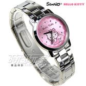 HELLO KITTY凱蒂貓 專櫃品牌 蕾絲Kitty時尚錶 不銹鋼  女錶 粉 LK680LWPI