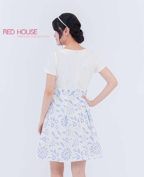 RED HOUSE-蕾赫斯-花型領拼接蕾絲短袖洋裝(藍色)