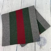 BRAND楓月 GUCCI 古馳 經典 綠紅綠 深灰色 圍巾 羊毛70% 30%絲 圍巾 冬季穿搭 保暖