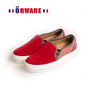 ORWARE-反毛皮休閒板鞋/女款 652034-09(紅)