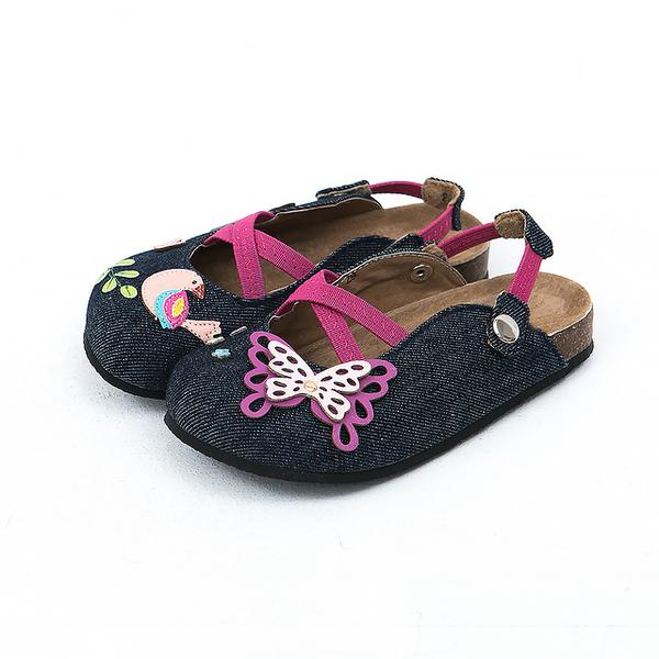 【Jingle】夢幻蝴蝶花園前包後空軟木休閒鞋(牛仔藍兒童款)