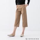 【GIORDANO】女裝後鬆緊休閒七分寬褲 - 90 棕褐色