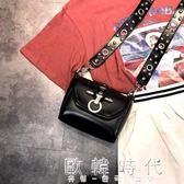 新款春夏時尚炫酷黑色小包包百搭款鉚釘扣鏈條機車單肩斜挎包   歐韓時代