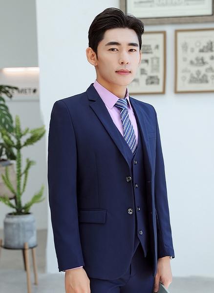 【958】修身版藍色男西裝(男西裝/背心/西褲)/六色可選 男女款/公司團體制服主管業務結婚