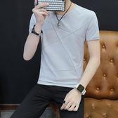 2018新款男士短袖t恤純棉丅半袖個性韓版潮流夏季男裝修身上衣服 依凡卡時尚