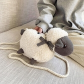 毛絨小包包女包2020新款可愛羊羔絨動物斜背包丑萌玩偶小羊公仔包 童趣屋