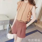 輕熟風氣質網紅套裝女夏裝新款時尚洋氣高腰闊腿短褲裙兩件套 可然精品