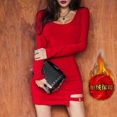 大碼洋裝大紅色氣質夜店洋裝女秋冬裝加絨加厚性感低胸夜場酒a字短裙 Mt8040『小美日記』