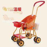 仿藤推車輕便攜萬向輪嬰兒仿竹藤簡易保暖兒童手推車igo    琉璃美衣