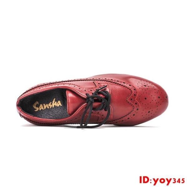 Sansha 法國三沙男士踢踏舞鞋系帶牛皮巴洛克風格踢踏舞蹈鞋
