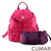 CUMAR 菱形logo防潑水尼龍水桶後背包-粉色(贈紫小包)