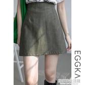 EGGKA復古小皮裙女高腰顯瘦半身裙秋冬2020新款黑色a字短裙 中秋節全館免運
