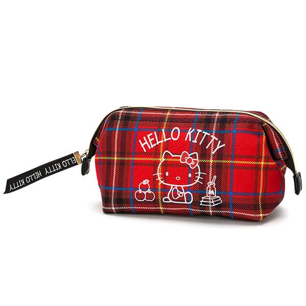 Hello Kitty化妝包 經典蘇格蘭紅格紋大容量長形化妝包/筆袋/收納袋/收納包 [喜愛屋]