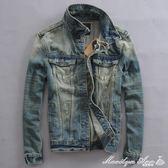 牛仔外套 春秋季復古做舊男牛仔外套青年韓版修身夾克彈力男牛仔衣服褂潮 新品上市