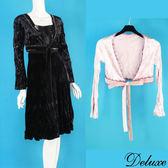 【Deluxe】典雅晚宴風花邊絨布綁帶穿搭小外套(黑☆粉)