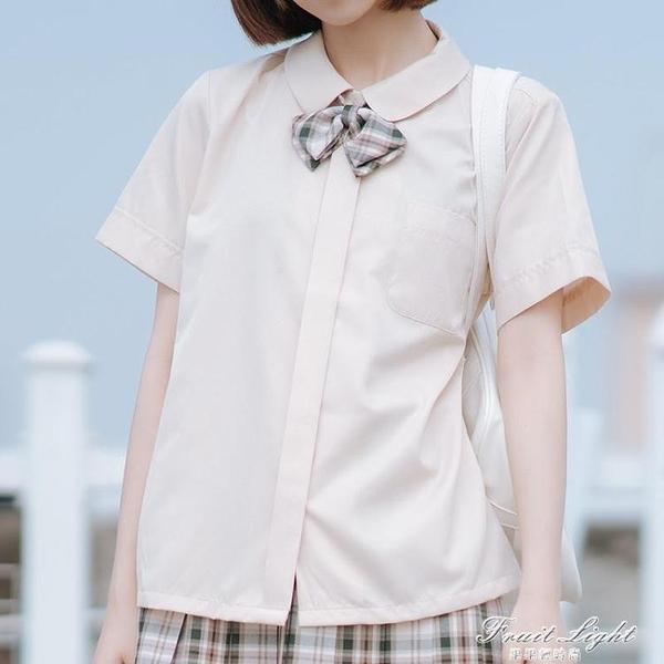 【梗豆物語】人手一件 JK制服小丸襟/圓領 學院風短袖女襯衫3色 果果新品