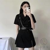 連身裙排扣西裝裙女暗黑系小黑裙酷【小酒窩服飾】