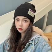 顯臉小日系保暖包頭毛線帽子韓版男女秋冬潮百搭黑色針織帽冷帽