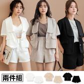 MIUSTAR 兩件式!珍珠釦西裝外+壓褶短褲(共3色,M-L)【NH1731】預購