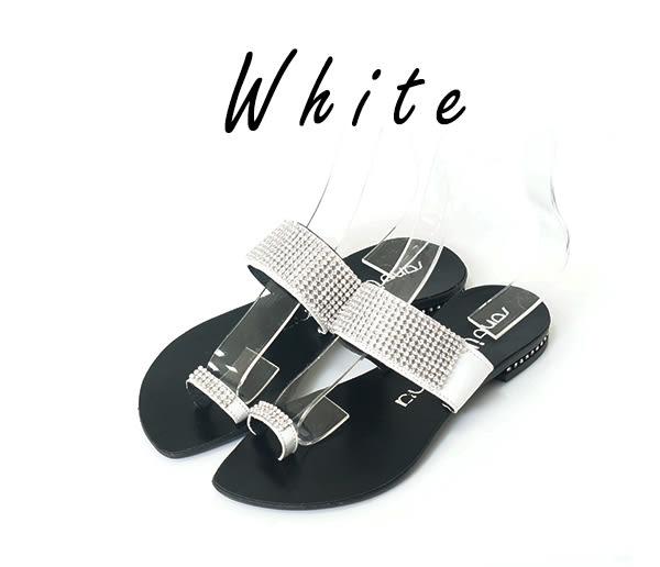 女鞋 涼拖鞋 歐洲風情 璀璨迷人 低調奢華閃耀鑲嵌亮鑽 方鑽夾腳 低跟 涼拖鞋_閃耀白