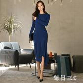 OL洋裝春季女新款韓版簡約修身長袖中長款不規則連身裙 FR5437【每日三C】