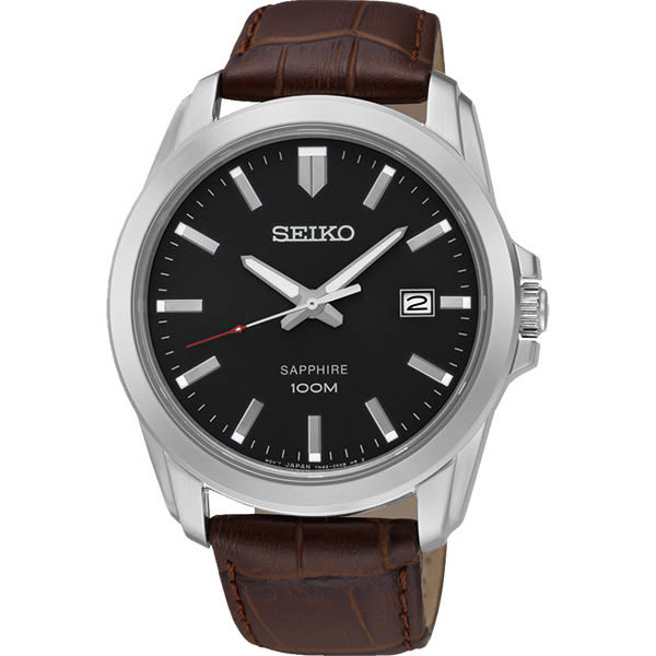 SEIKO 精工 CS系列大三針石英錶-黑x咖啡色錶帶/41mm 7N42-0GD0C(SGEH49P2)