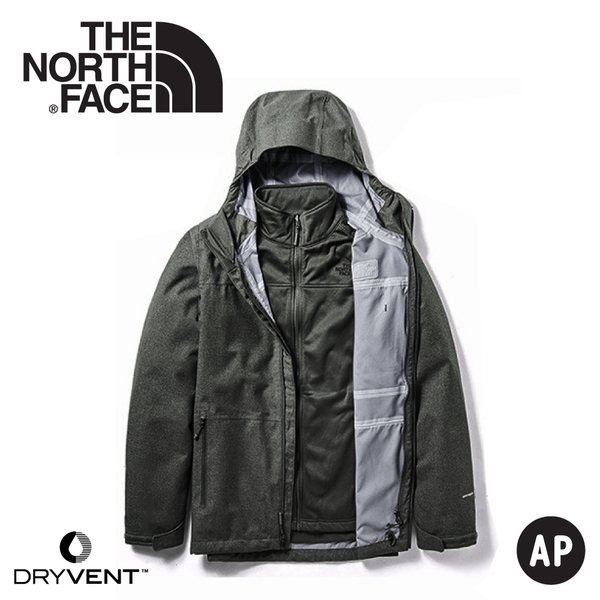 【The North Face 男 兩件式DryVent防水刷毛保暖外套《黑》】3VSI/防水外套/兩件式外套
