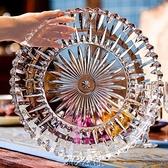 供盤 大號透明水晶玻璃水果盤圓形茶盤水杯托盤平盤KTV家用拼盤果盤子