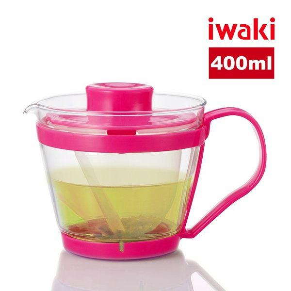 【iwaki】日本品牌耐熱玻璃微波茶壺-400ml(桃粉)