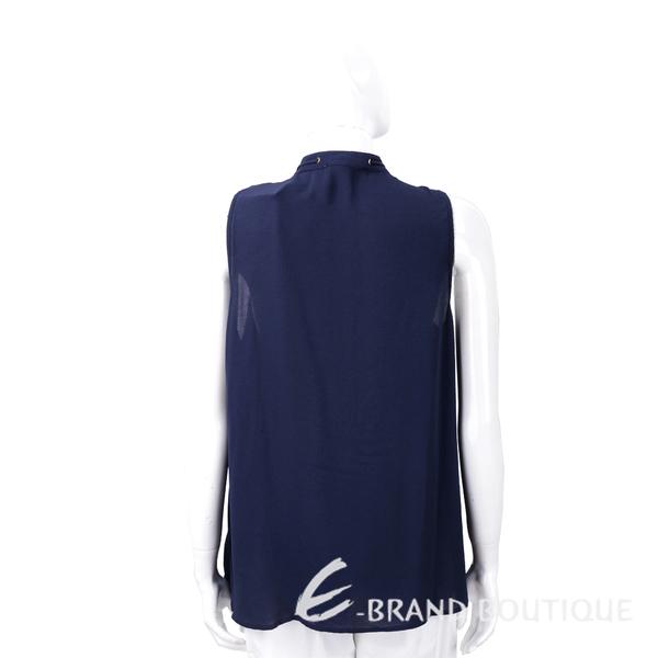 Michael Kors 深藍色織花荷葉穿繩領結無袖雪紡上衣 1730350-34