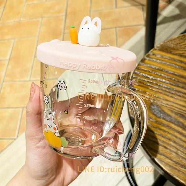 帶吸管杯玻璃水杯 家用韓式可愛少女心耐熱高硼硅【少女顏究院】