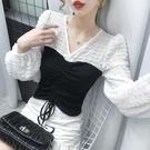 限時特價 衣服早秋新款女裝V領短款高腰抽繩顯瘦小眾設計長袖上衣ins潮