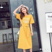 短袖t恤裙子女夏大尺碼洋裝新款韓版寬鬆大碼過膝中長款收腰顯瘦連衣裙 qf25266【夢幻家居】