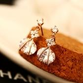 耳環 玫瑰金純銀鑲鑽-璀璨高雅生日情人節禮物女飾品73ca49【時尚巴黎】