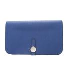 HERMES 愛馬仕 Dogon Duo GM 7T閃電藍牛皮長夾 護照夾(附活動零錢袋)□R刻 Togo