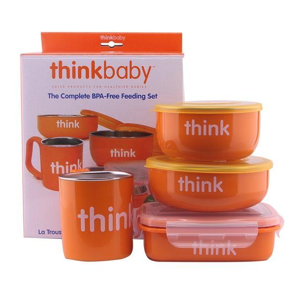 美國 Thinkbaby不鏽鋼餐具4件組-橘色
