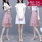 加大碼-仙女系氣質蕾絲裙兩件式套裝(S-2XL)