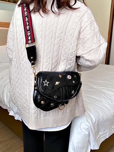 克妹Ke-Mei【ZT57826】ED歐美外貿單復古電繡織帶皮質馬鞍包