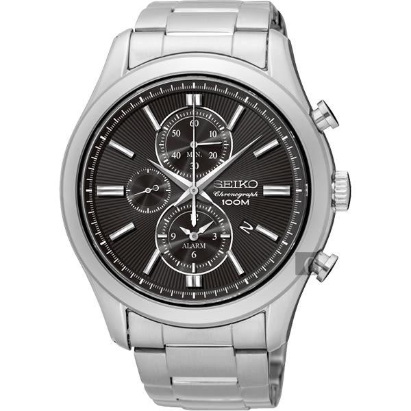 SEIKO 精工 CS 紳士品味計時碼錶-黑/43mm 7T62-0LJ0D(SNAF67P1)