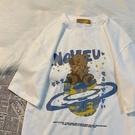 T恤 卡通小熊印花短袖T恤女寬鬆原宿風情侶半袖上衣ins 【618特惠】