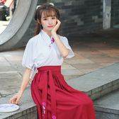 (交換禮物)2018新款春夏漢服女改良女裝漢元素短袖短裙日常古裝民族風演出服
