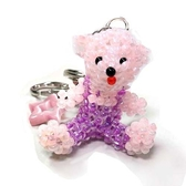 粉紅琉璃珠小熊與貓眼星星鑰匙圈