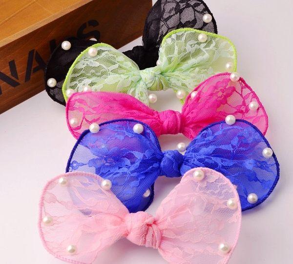 [協貿國際]  珍珠雙層蕾絲大蝴蝶結髮夾髮飾頭飾 (2個價)