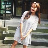短袖洋裝 蕾絲波浪條紋兩件套短袖洋裝連身裙【MYM357】 BOBI  05/26