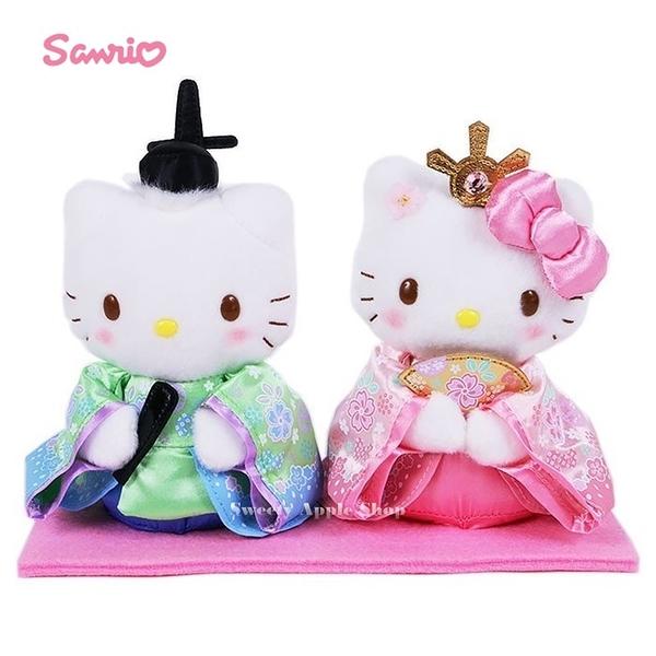 日本限定 三麗鷗 HELLO KITTY 凱蒂貓 &丹尼爾 女兒節 和風 絨毛娃娃 對偶套組