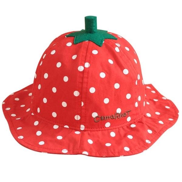 日本外貿原單C*market兒童草莓盆帽漁夫帽大紅波點寶寶春夏遮陽帽