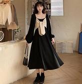 大碼洋裝 大碼女裝秋季胖妹妹mm法式小黑裙輕奢復古寬鬆顯瘦赫本連身裙  芊墨左岸 上新